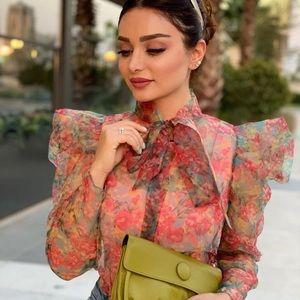 GORGEOUS ZARA NWT Organza Floral Sheer Blouse